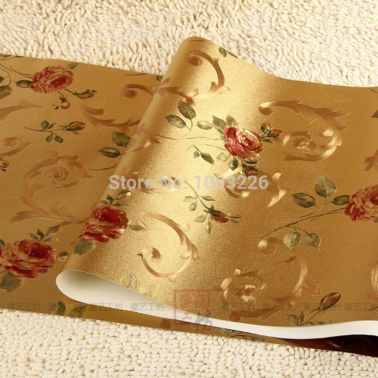 Люкс золотой фольги цветочный лист обои пвх ролл водонепроницаемый для KTV стены фон papel де parede 3d