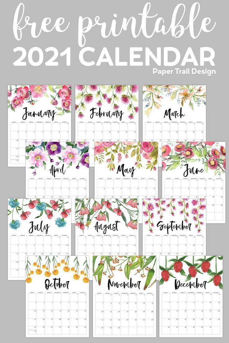 Free Printable 2021 Floral Calendar Paper Trail Design In 2020 Free Printable Calendar Calendar Printables Planner Printables Free
