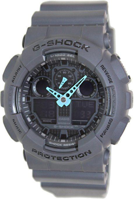 Cheap Casio Men's GA-100C-8ACR G-Shock Analog-Digital Display Quartz Gray Watch Bright Neon Blue Hands, Where to buy, Free Shipping, Free Returns, Best price, Best Deal