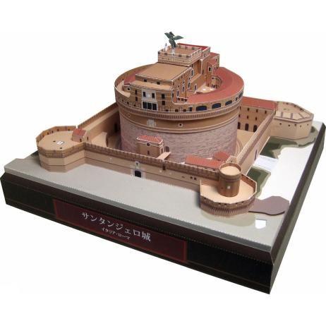 Italië Castel Sant'Angelo, de bouw, papier ambachtelijke, Europa, Italië, wereld erfgoed, het kasteel, grote cirkel toren, de bouw