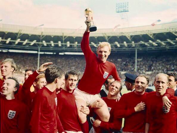 Bobby Moore holds aloft the World Cup after England's 4-2 famous victory over West Germany in the World Cup Final at Wembley Stadium, July 1966
