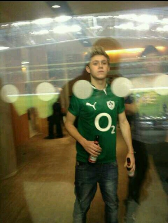 Niall at the rugby match yesterday.