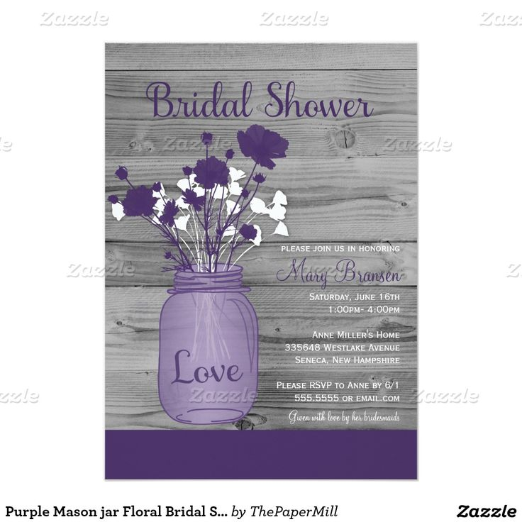 purple themed bridal shower%0A Purple Mason jar Floral Bridal Shower     X     Invitation Card