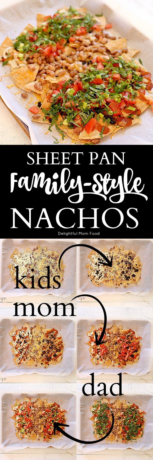 Simple nachos recipe custom created for each member of the family and baked to perfection on a sheet pan! Forget about the kids not wanting veggies on top and the husband wants his enchilada sauce and you want extra cheese. Now you can cater to all members of the family in one of the easiest sheet pan dinner recipes!