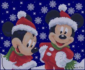 Free cross-stitch patterns, Christmas, cartoon, Disney, Mickey Mouse, Minnie,