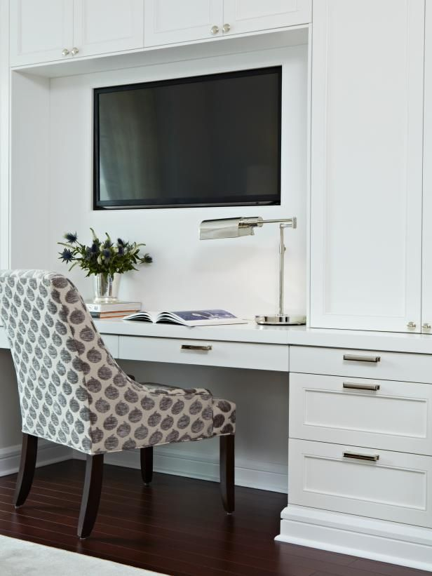HGTV invites you to see these custom bedroom built-ins with an integrated TV and desk.