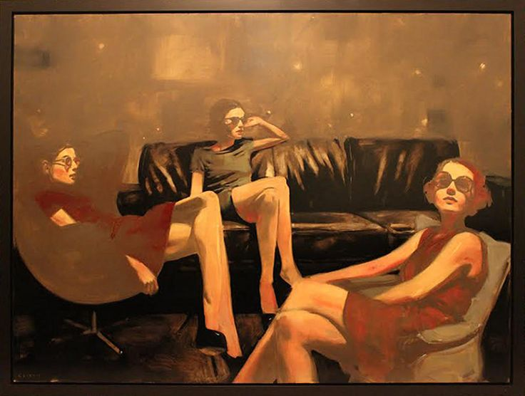 "MICHAEL CARSON, ""LOUNGING,"" OIL ON PANEL, 30 X 40 INCHES 