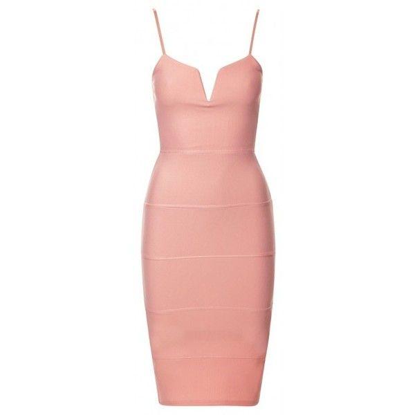 Zula Peach Plunge 'V' Neck Sleeveless Bandage Bodycon Dress (£1) ❤ liked on Polyvore featuring dresses, plunge neck dress, peach dress, bodycon bandage dress, v neck bodycon dress i party dresses