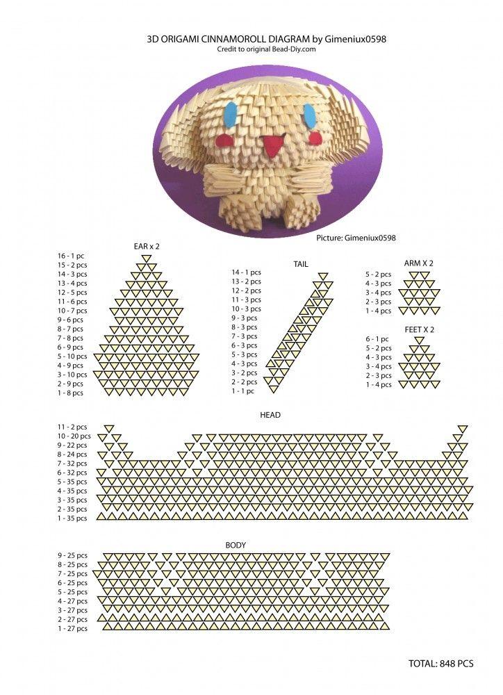 SANRIO Cinnamoroll    Diagram      3D Origami   Pinterest