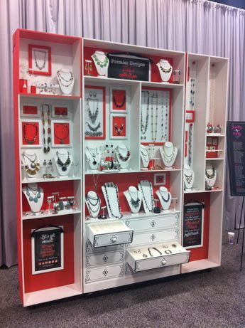 if you can do it -- make it fun! jewelry display red and white!   --Shared by WhatnotGems.Etsy.com