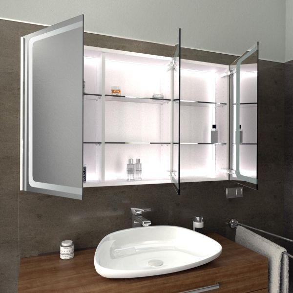 Spiegelschrank Mit Led Beleuchtung Cork Geoffnet Und Beleuchtet Spiegelschrank Badspiegel Mit Regal Bad Inspiration