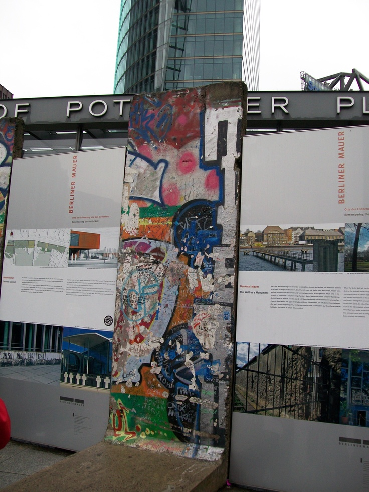 Potsdamer Platz, Berlin, Germany.  Segment of the Berlin Wall in situ.