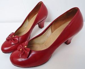 Vintage 50s Shoes for Women   VINTAGE 40s 50s LIPSTICK RED LEATHER SHOES/HEELS ~WARTIME/DECO ...