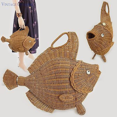 "Vtg 50s Huge NATURAL WICKER FISH Purse Stand-up Figural Handbag 17""x15"""