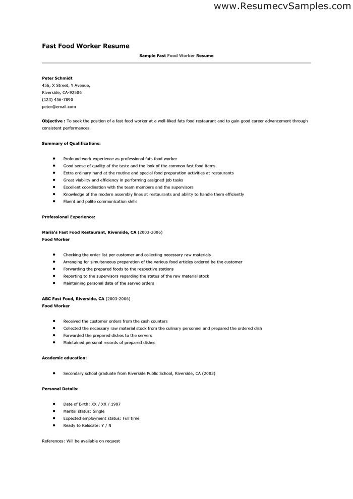 format of Fast Food Worker Resume
