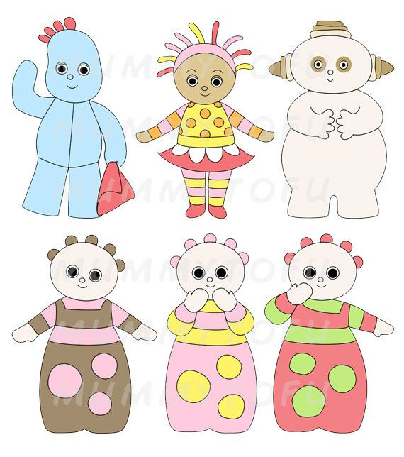 cbeebies - In The Night Garden Inspired Birthday Party Printable Cut Outs - Instant Download - Iggle Piggle, Upsy Daisy, Makka Pakka, Tombliboos