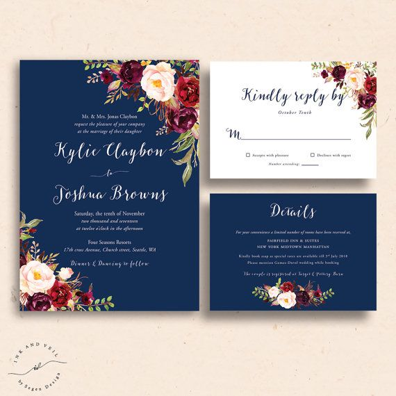 Navy Floral Wedding Invitations, Navy Wedding Invite, Marsala Burgundy Maroon Invitation Suite, Navy and Red, Spring Wedding, Summer - Kacey