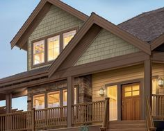 sage green siding with brown trim - Google Search
