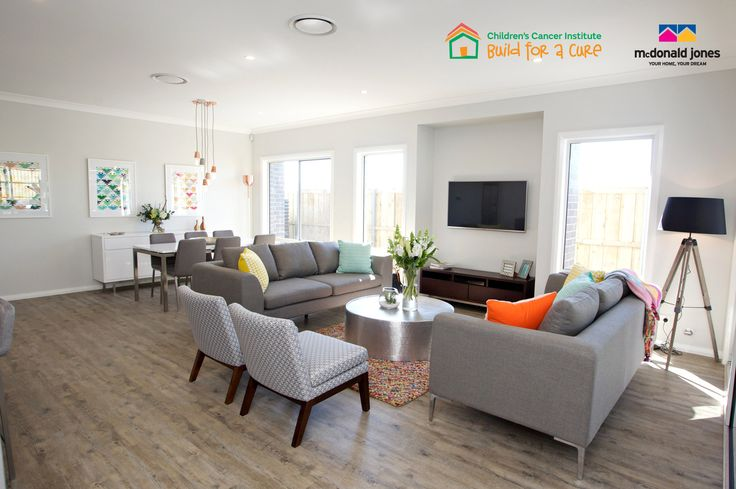 The living room from our finished #BuildforaCure home, furnished by Freedom and television from Panasonic. #lounge #living #newhome #livingroom #decoratinginspiration #charity #McDonaldJonesHomes