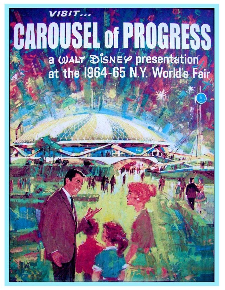 Vintage Disney Poster Carousel of Progress Worlds Fair 8 5 034 x 11 034   eBay