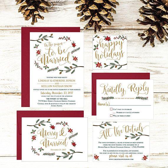 Christmas Wedding Invitation Template, Winter #weddings #invitation @EtsyMktgTool http://etsy.me/2f0kqKT