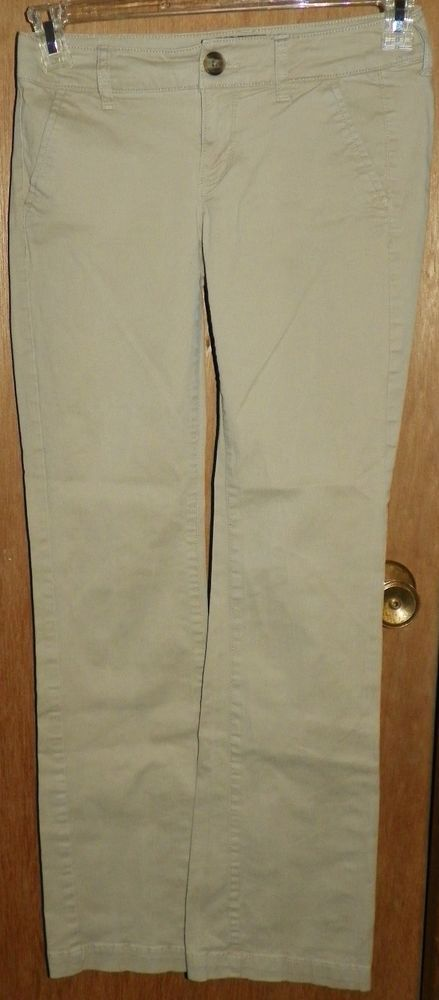 American Eagle Tan Khaki Pants Kick Boot Stretch Womens Size 0 #AmericanEagleOutfitters #Chinos
