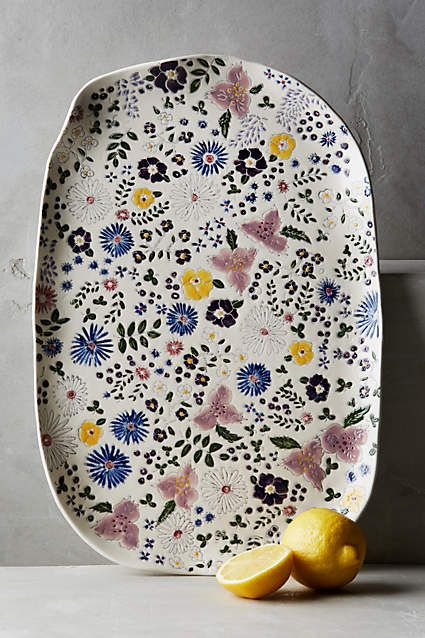 Windblown Blooms Platter - anthropologie.com