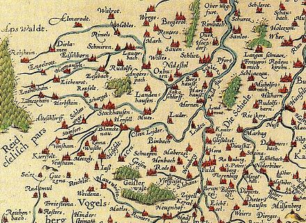 Herbstein : Location of Herbstein (Herbstain) on a cartes of the Fulda penitent from 1574