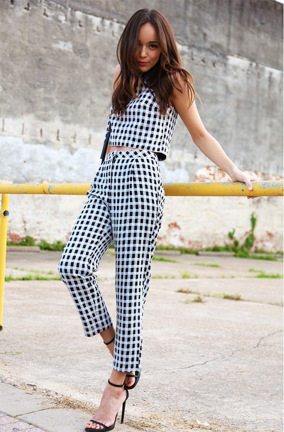 Ashley Madekwe looks so chic in a gingham matching pants set