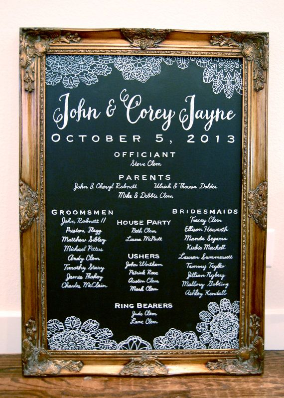 "24x36"" Custom Hand Painted Chalkboard Wedding Program Sign"