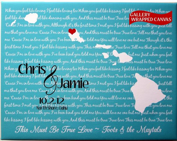 canvas lyrics gift: custom honeymoon engagement anniversary couple oahu love hawaii wedding present wall decor  #printsinspired