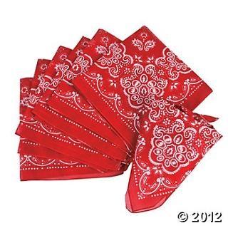 Red bandannas - Oriental Trading- $11.00 per dozen