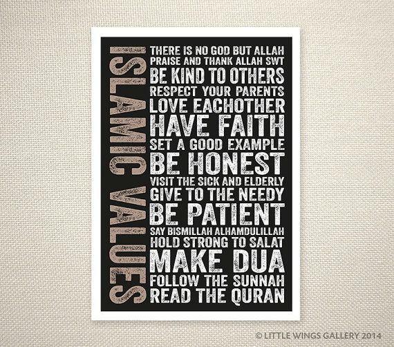 Islamic Values Black Islamic Art Print by LittleWingsGallery, $14.00