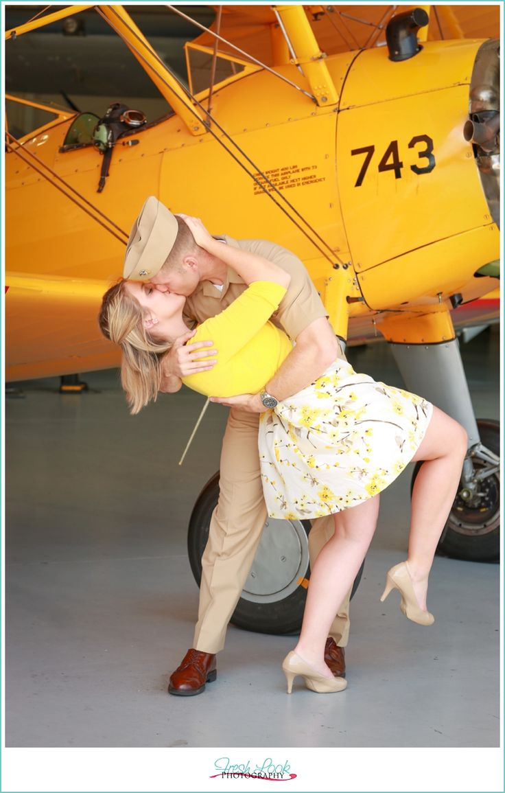 Military Aviation Museum Engagement Shoot, world war two planes, vintage engagement shoot, pilot gets his wings, engagement pictures, military couple, Fresh Look Photography