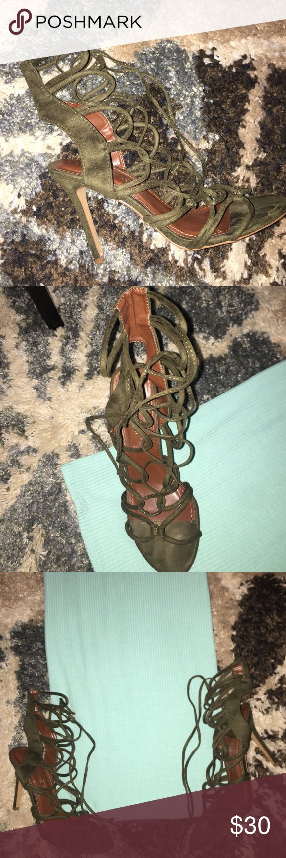 Olive green strappy heel! The perfect open toe strappy olive green heel! Shoes Heels