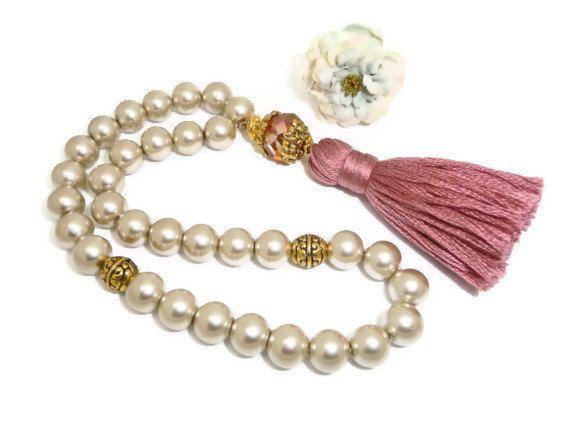 Short Tasbih Muslim prayer beads with pale khaki by AlSafinaShop, $28.00