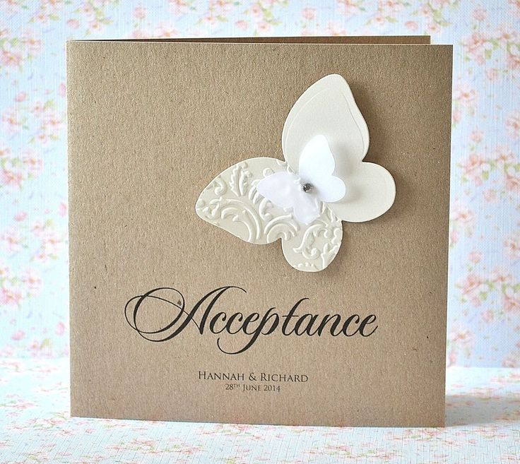 how to word evening wedding reception invitations%0A Personalised Wedding Acceptance or Regret card butterfly shabby chic