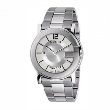 Ανδρικό quartz ρολόι GUCCI G με ατσάλινο μπρασελέ, ασημί καντράν, ημέρα & ημερομηνία που φοριέται και ως γυναικείο | Ρολόγια GUCCI ΤΣΑΛΔΑΡΗΣ Χαλάνδρι #Gucci #ασημι #μπρασελε #ρολοι