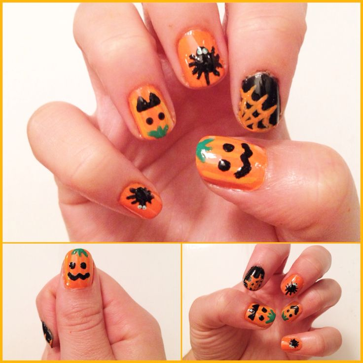 Halloween nails - Pumpkins & Spiders