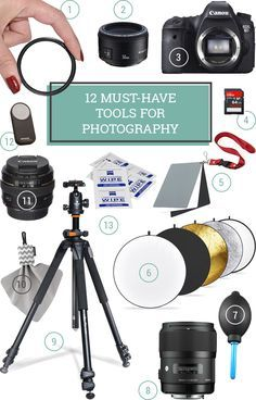 12 Must Have Photography Tools and Supplies - This is a comprehensive guide to essential photography gear for all skill levels, including beginners, bloggers, and more, to give you an idea of what to pack in your camera bag! Also includes lots of tips, tricks, and tutorials!