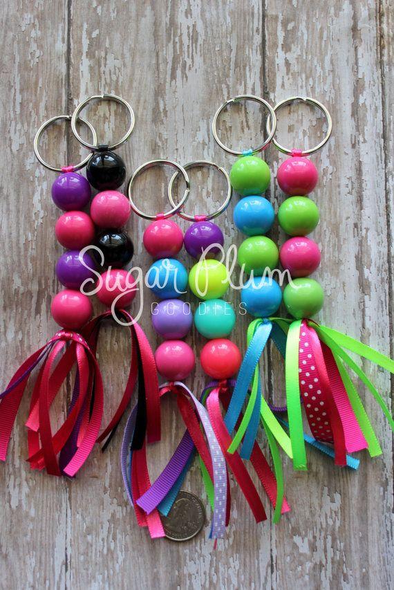 Beaded keychain chunky beaded accessory by SugarPlumGoodies