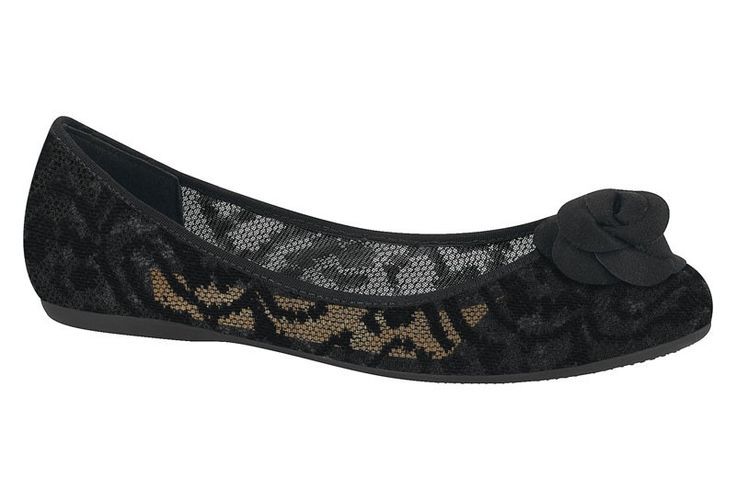 Lightweight black flat with beautiful lace upper. Complete with the comfort technologies you expect from this brand: a super-flexible, anti-slip sole as well as a comfortable cushioned inner sole featuring anti-perspirant. A perfect flat for the warmer weather.�