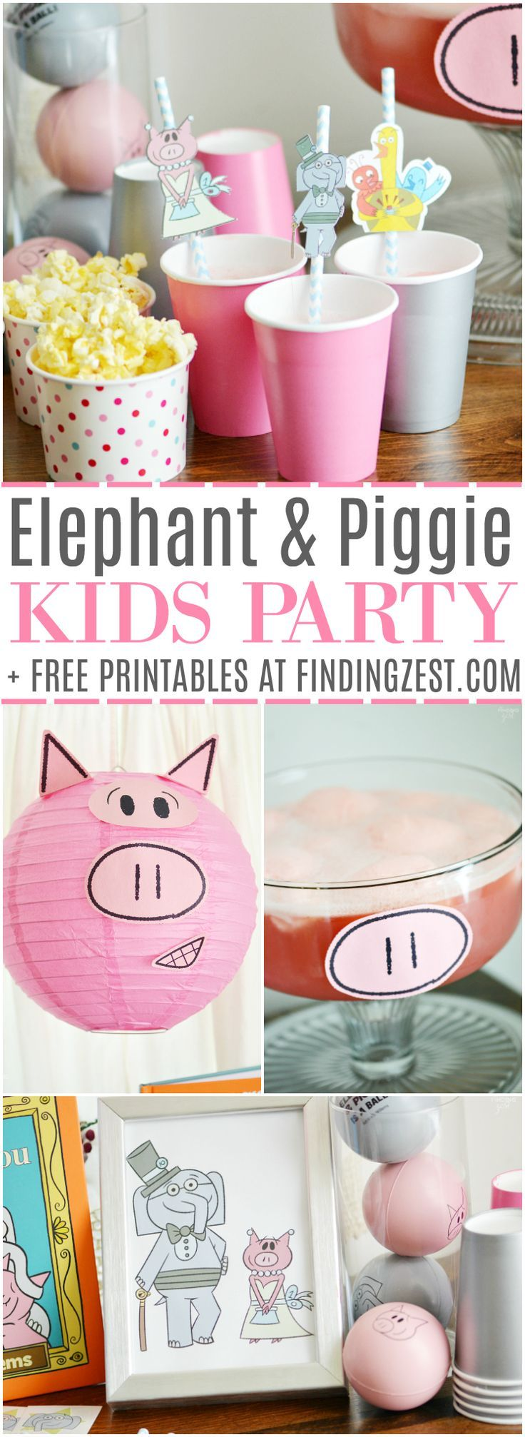 It is an Elephant & Piggie party, including free printables! We are celebrating the 10th anniversary of this fun book series by Mo Willems with piggie punch, books and fun decor!