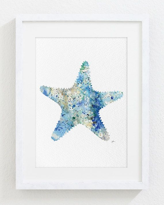 Watercolor Art  Starfish Painting  5x7 Archival Print by ElfShoppe