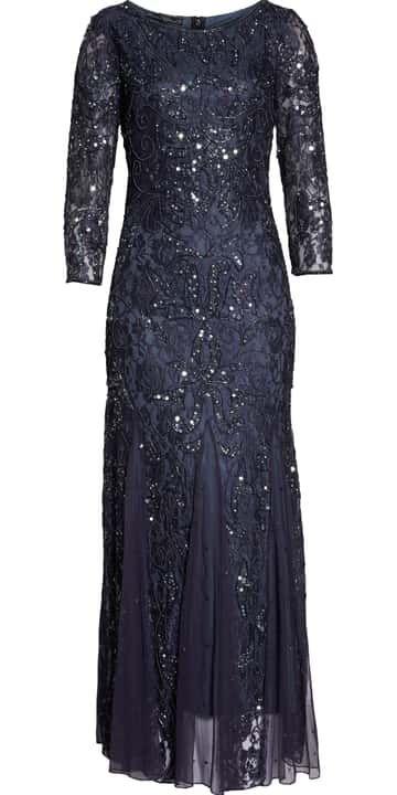 209401ba5921 Pisarro Nights Beaded Lace Gown (Regular & Petite) | Nordstrom ...