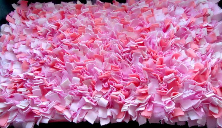 On Sale Bright Colorful Pink Shag Rug Rag Rug Shabby Chic Rug