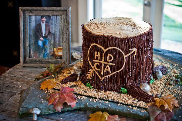 rustic groom wedding cake