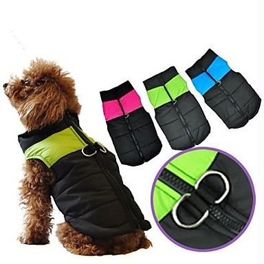 Dog Fashion! Waterproof nylon dog coats. Come in blue, pink & green.