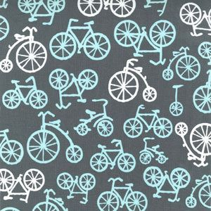 Bicycles in Gray by Michael Miller Fabrics One Yard by FabricBubb, $9.00....I have this in the white with teal and black bicycles. I would love to have this as well!