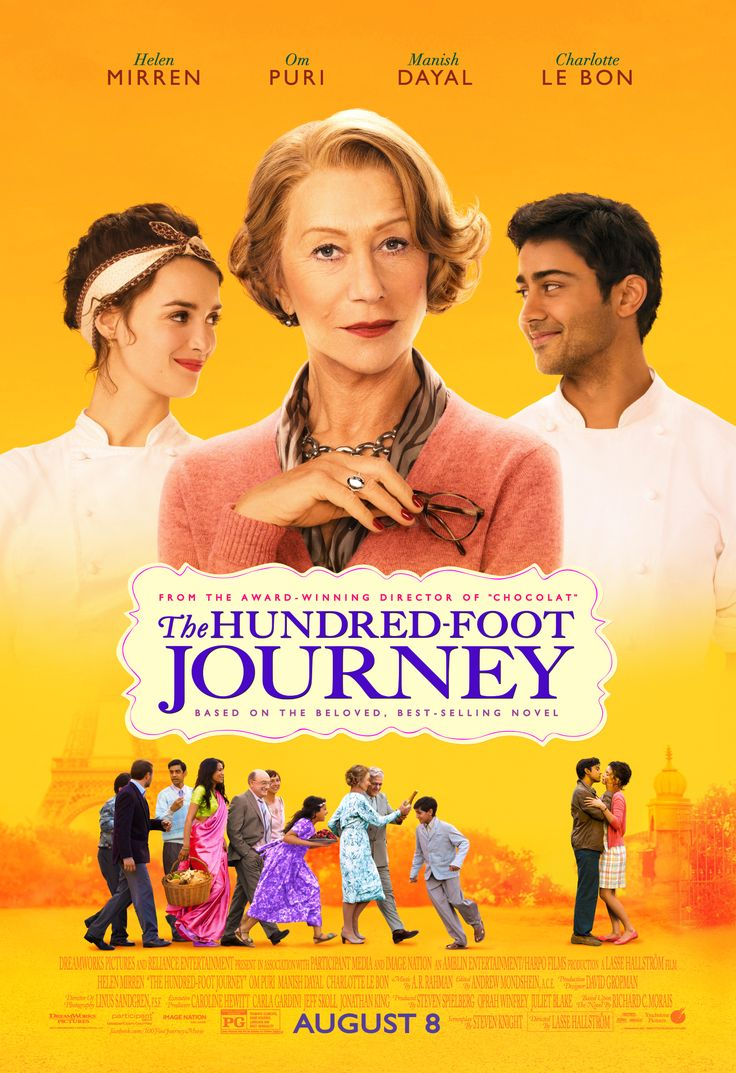 """""""Life's greatest journey begins with the first step."""" Check out the new poster for the#100FootJourney starring Helen Mirren. In theaters August 8."""